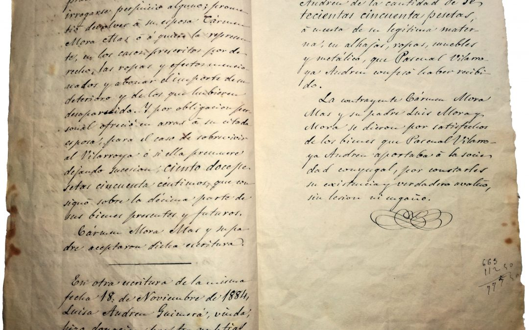 Letter stating the dowry of Carmen Mora Mas and capital of Pascual Vilarroya Andreu