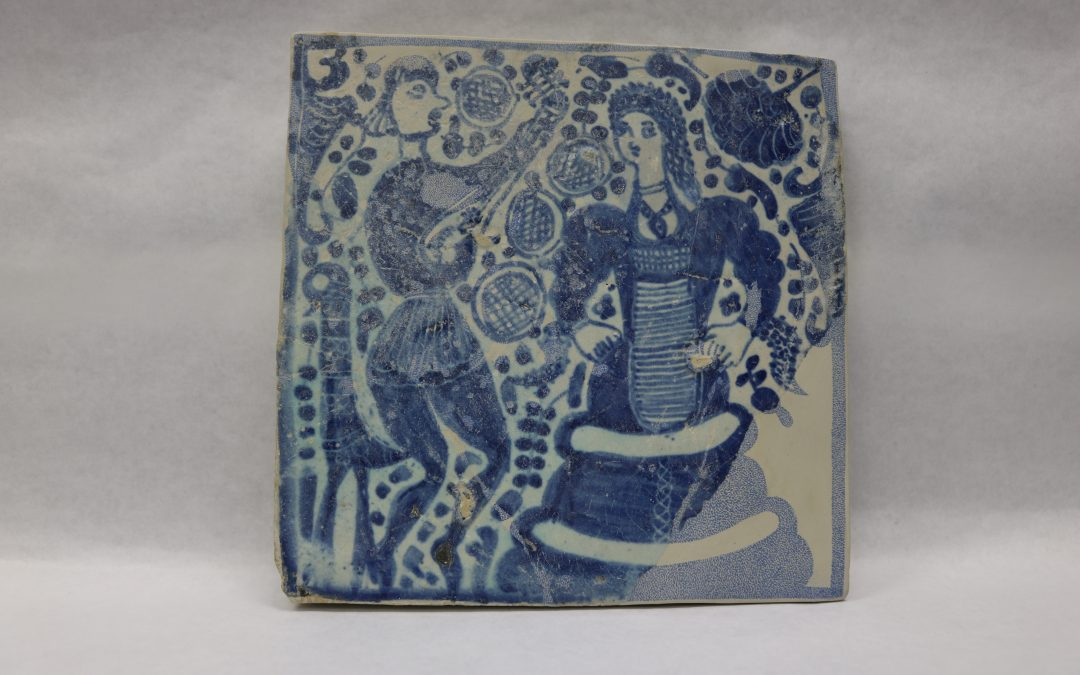 Tile of a troubadour and his lady
