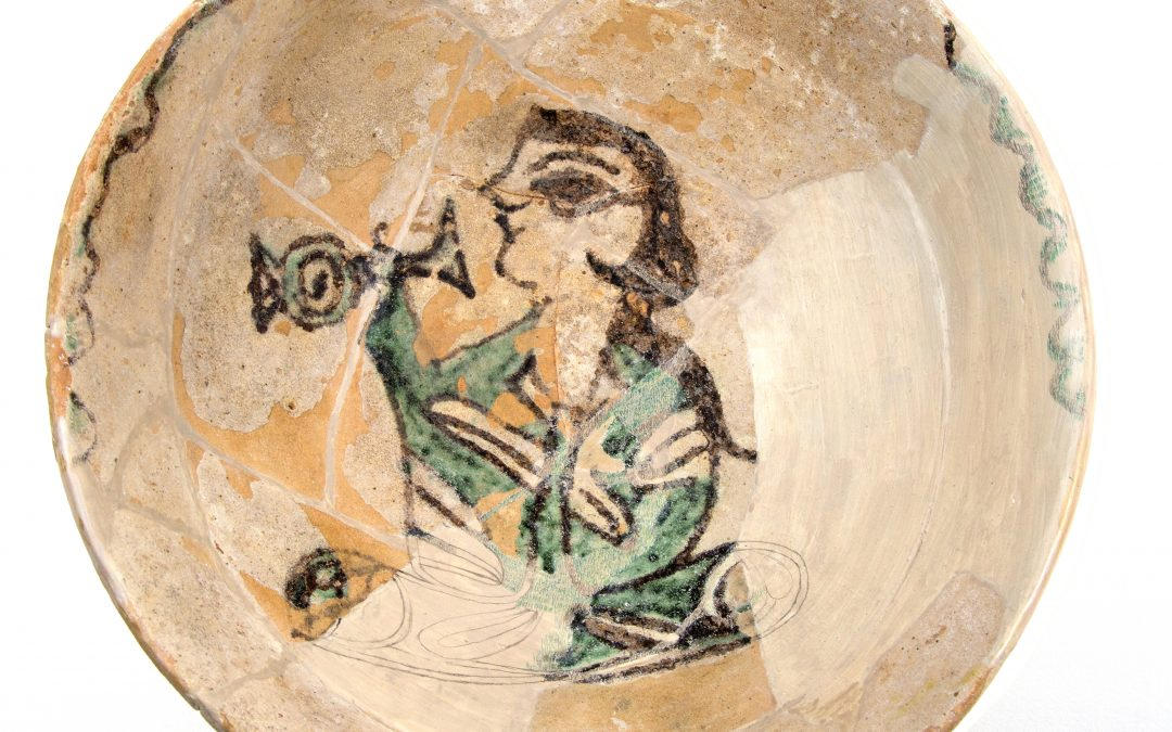 Ceramic Bowl with Drinking Figure
